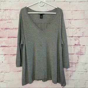 LANE BRYANT Gray Sheer Pleated Back Sweater
